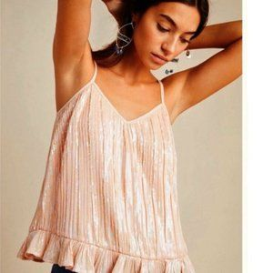 NWT Anthropologie Peach Pink Sequined Cami Top 6